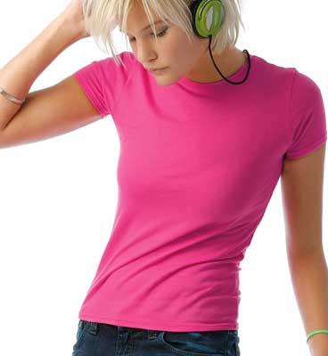 maglietta fluo B&C donna manica corta